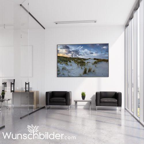 Fotokunst für Geschäftsraeume und das Büro Motiv Sylt Leuchtturm am Ellenbogen WUNSCHBILDER.com