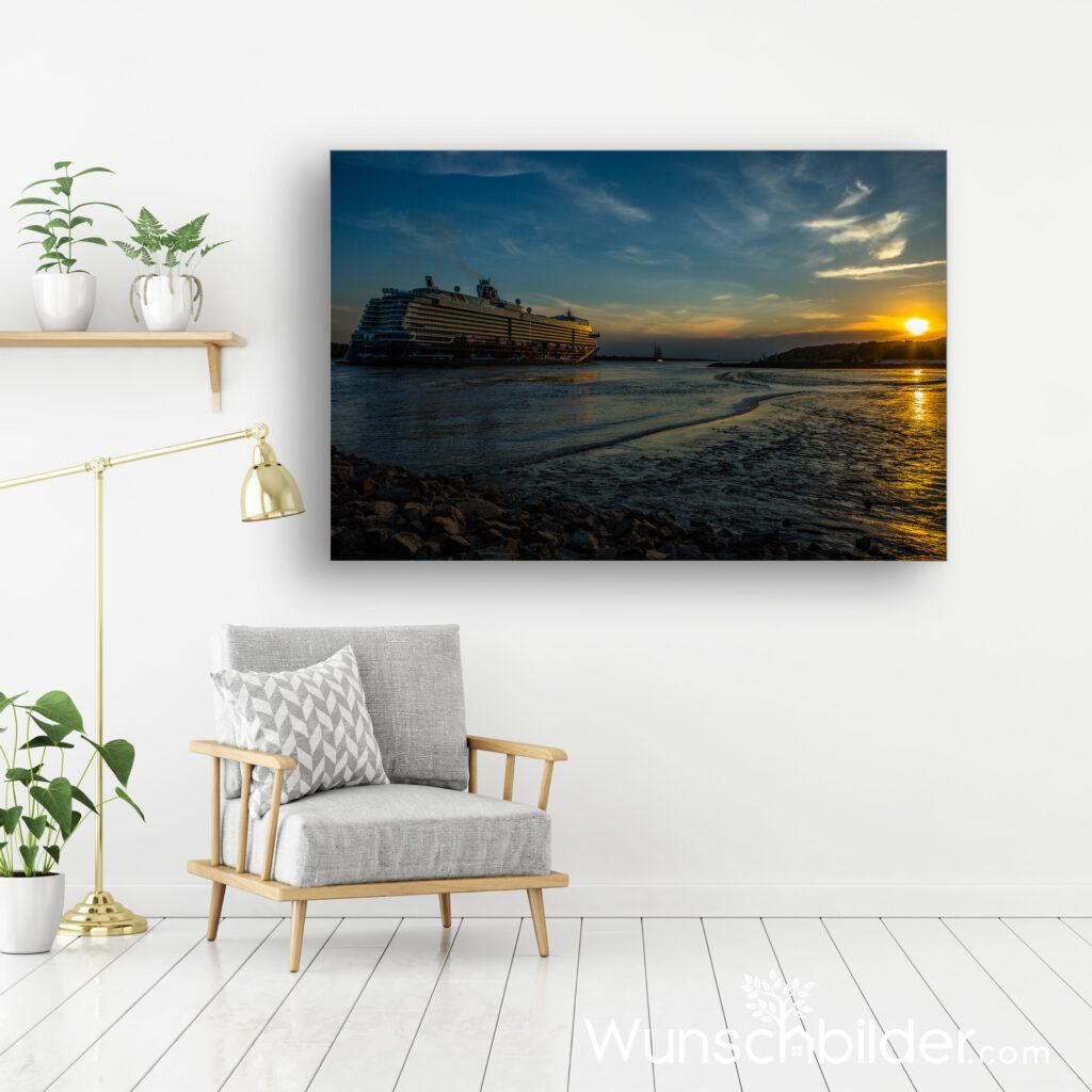 Schiffsreise Hamburg -Elbe - Motiv Bon Journee auf Canvas Leinwand