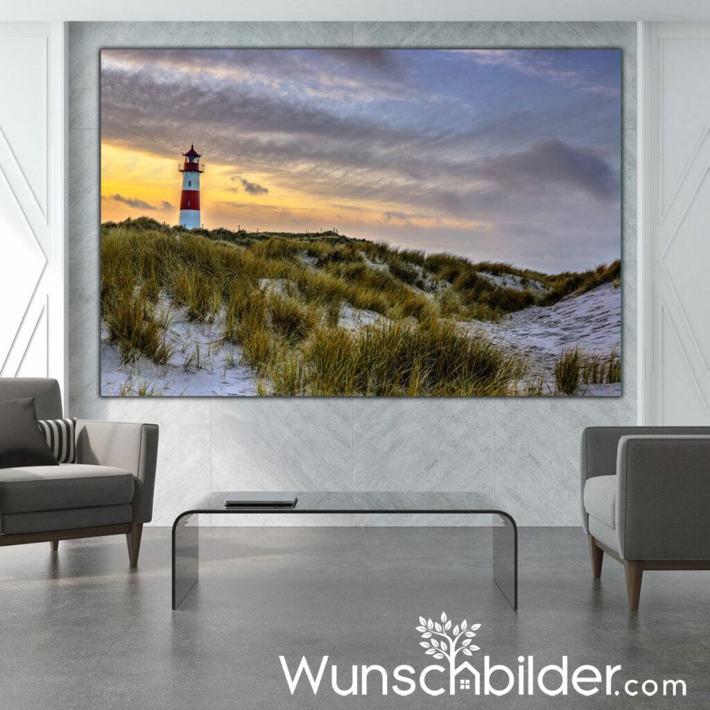 Sylt Leuchtturm Ellenbogen - Fotokunst mit Bildern für Zuhause und Büro - WUNSCHBILDER.com