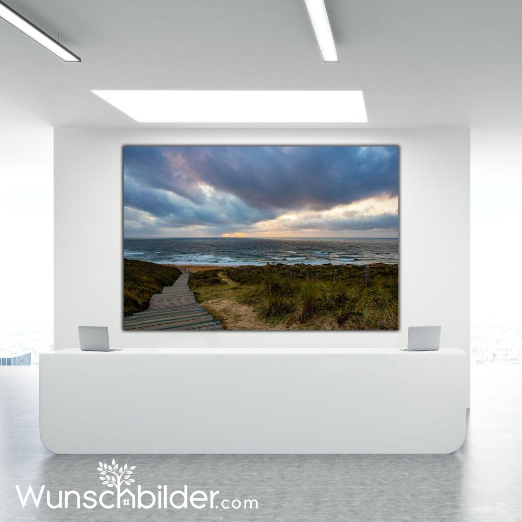 Sylt Weststrand - Strandübergang Fotokunst für Ihr Zuhause - Wunschbilder.com