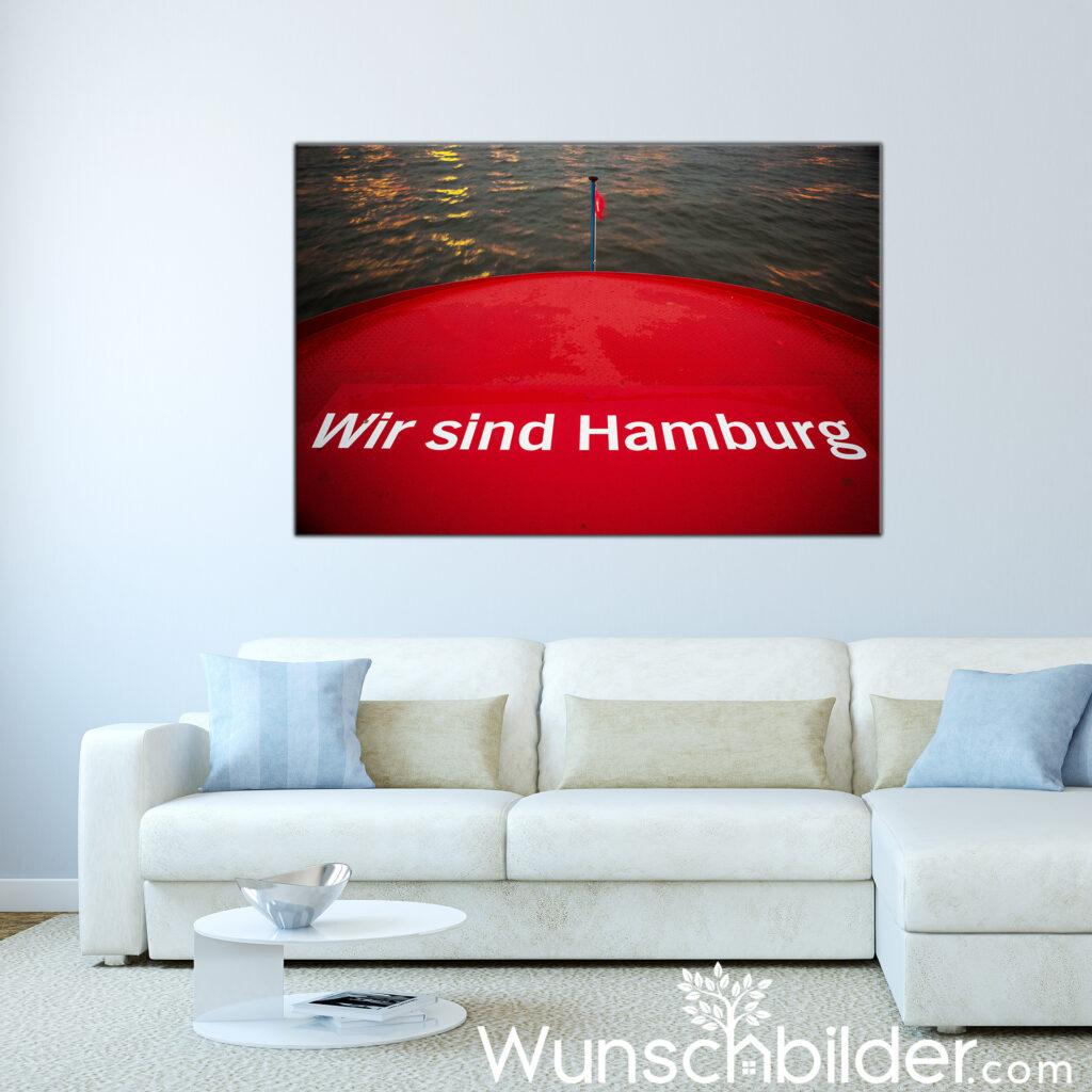 Wir sind Hamburg - Foto Leinwand - Motiv Hafenfaehre Hamburg