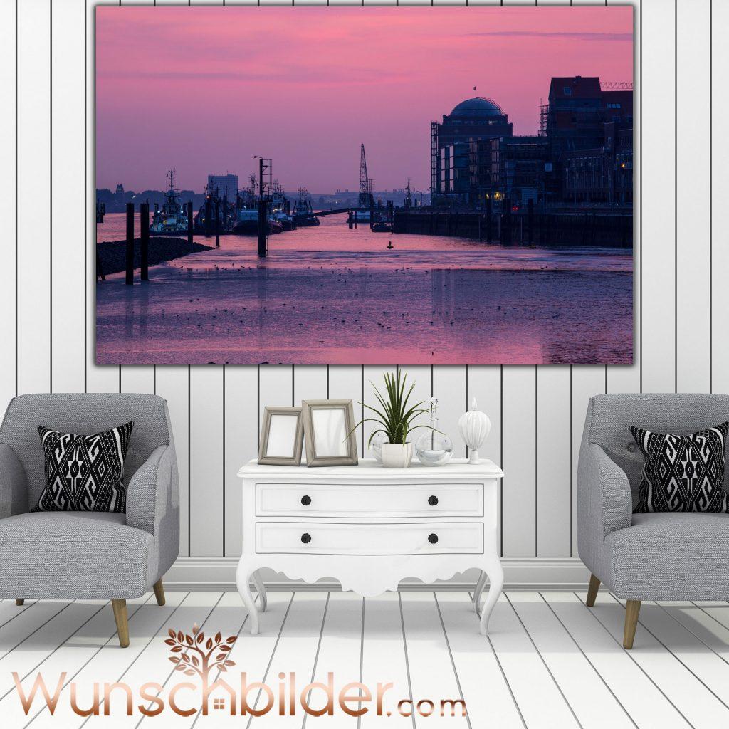 Hamburg Hafen Romantik Fotokunst im Bild fuer ihr Zuhause - WUNSCHBILDER.com