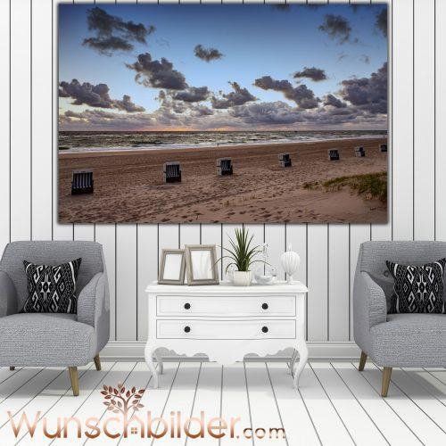 Strandkörbe am Strand Sylt - Fotokunst für Ihr Zuhause